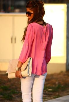 Pink shirt and white jeans