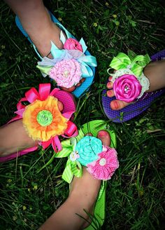 Flip flops with fabric flower by SugarButtonsClothing on Etsy, $28.00