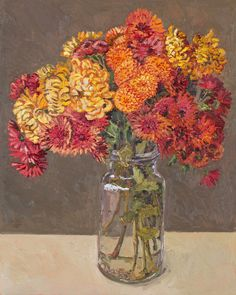 From Jan Murphy Gallery, Lucy Culliton, Chrysanthemums Oil on board, 75 × 60 cm