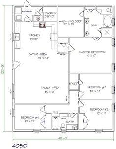 barndominium floor plan 4 bedroom 2 bathroom 40x50