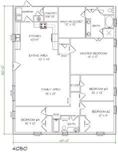 Barndominium floor plans barndominium floor plans 1 800 for 40x50 floor plans