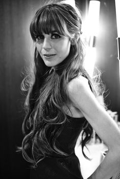 Bangs and glamorous bombshell waves (with the help of some length from a pro/model's #1 secret...extentions!)  Hair: Adam Livermore/Kattia Solano using Oribe Makeup: Francesca Roman