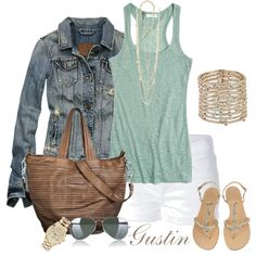 jean jacket and white shorts, created by stacy-gustin.polyvore.com
