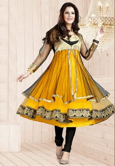 A captivating triple layered Yellow & Black Color Designer Anarkali Suit feauting an exquisite net bodice and a stunning wide border done in a gorgeous zari work