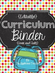 """A Curriculum binder is every teacher's right hand man. Stay organized by making a custom binder to safely store all your teacher """"stuff"""". This chalkboard themed download includes 2 files. One Print and go PDF and one editable file Powerpoint"""