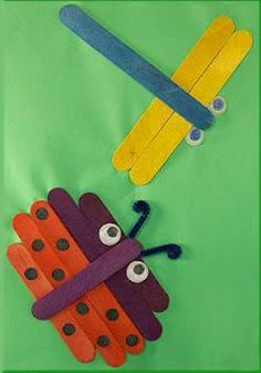 Popsicle Stick Ladybug and Dragonfly Kids Crafts Kids Crafts, Bug Crafts, Daycare Crafts, Camping Crafts, Summer Crafts, Craft Stick Crafts, Toddler Crafts, Preschool Crafts, Projects For Kids