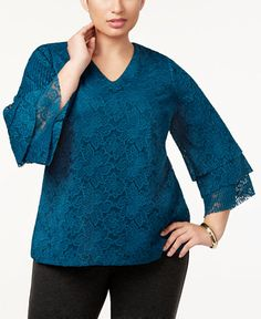 07c4d680b5f63 Charter Club Plus Size Tiered-Sleeve Lace Top