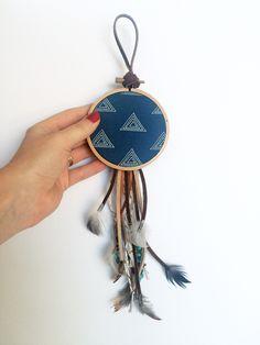 Modern Bohemian Wall Hanging - Package Tie On - Boho Dreamcatcher - Small Blue Dream Catcher - Boho Ornament - Boho Home Decor - Boho Gifts