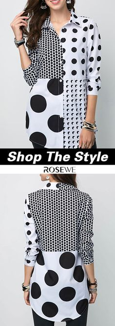 US$32.77, free shipping worldwide, Turndown Collar Button Front Polka Dot Shirt. Kurta Designs, Blouse Designs, African Fashion Dresses, Fashion Outfits, Womens Fashion, Abaya Mode, Trendy Tops For Women, Smart Outfit, Polka Dot Shirt