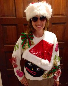 Christmas Crafts for Kids that double as Christmas presents! Tacky Christmas Party, Xmas Sweaters, Tacky Christmas Sweater, Ugly Christmas Sweater Women, Christmas Crafts, 1st Christmas, Christmas Presents, Ugly Sweater Contest, Ugly Sweater Party
