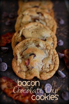 211598882465871450 Bacon Chocolate Chip Cookies 3/4 c. (1 & 1/2 sticks) butter, softened 1/4 c. bacon fat, 1 c. packed brown sugar 1/2 c. su...