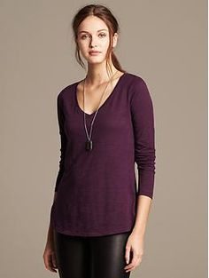 Slubbed Easy Tee : Banana Republic : size S or M depending on fit style. Colors: Secret Plum and Pink