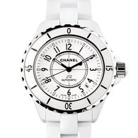 Chanel - H0970 - J12, 38mm €4,343.00 €3,518.00 (You save €825.00)  Product Description  Unisex white ceramic case with a ceramic link bracelet with hidden deployment clasp. White dial with luminous hands markers. Automatic date between 4 and 5 o'clock. Automatic self winding movement. Scratch resistant sapphire crystal. Case diameter: 38 mm. Water resistant to 200 metres.