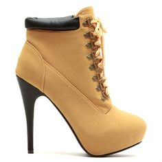 Camel ankle boots with lace up style, hidden platform, brown accents #cutesyoriginals