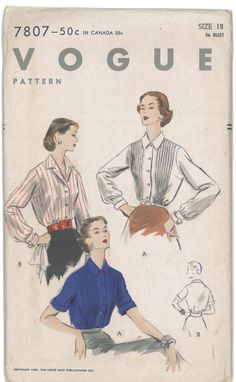 1950s Vintage Vogue Womens Blouse Sewing Pattern Vogue 7807