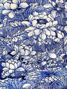 Close -up from an Antique cobalt blue floral pattern Japanese porcelain tile panel dated 1875 | Living with Blue and Gray  | Japanese Porcelain, Por…