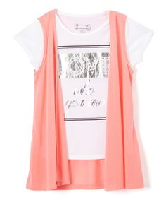Take a look at this Dreamstar Coral Vest & White 'Love Who You Are' Tee - Girls today!