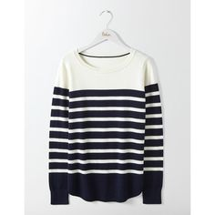 Boden Emilie Curved Hem Sweater ($45) ❤ liked on Polyvore featuring tops, sweaters, white top, white jumper, relaxed fit tops, curved hem sweater and white sweater