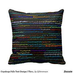 Cuyahoga Falls Text Design I Throw Pillow