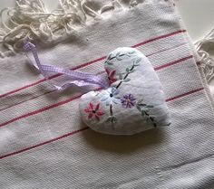 Vintage Embroidery Lavender Filled Heart by gillyflowerdesigns on Etsy
