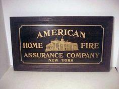 RARE AMERICAN HOME FIRE INSURANCE CO NEW YORK SIGN IN ORIGINAL FRAME | ebay