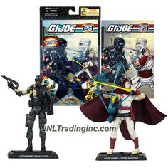 Hasbro Year 2007 G.I. JOE A Real American Hero 25th Anniversary Comic Series 2 Pack 4 Inch Tall Action Figure - SNAKE EYES with Assault Rifle, Knife, Bag and STORM SHADOW with Bow, Quiver, 2 Katana Swords Plus 2 Display Base and Comic Book