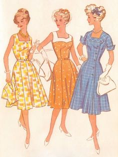 60s Patterns sixties dress skirt sewing pretty women retro vintage flea market thrift store old farmer book magazine plaid pink yellow sweetheart