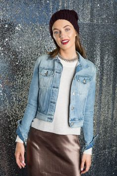 Dressed-Up Denim - Transition your jeanjacket to winter by layering it overcashmere. Elevateit with a champagne maxi skirt and ourSoia