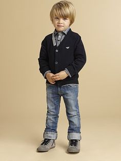 Armani Junior - Toddler's & Little Boy's Cardigan Toddler Swag, Toddler Jeans, Toddler Boy Fashion, Little Boy Fashion, Toddler Outfits, Boy Outfits, Kids Fashion, Man Fashion, Boys Jeans