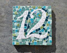 Mosaic house number classic style different by handmadebyhippo