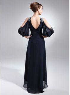 Corte A/Princesa Escote en V Asimétrico Chifón Vestido de madrina con Bordado Cascada de volantes (008005761) - JJsHouse