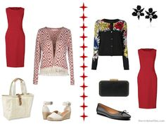 How to wear a red dress with a printed or floral cardigan