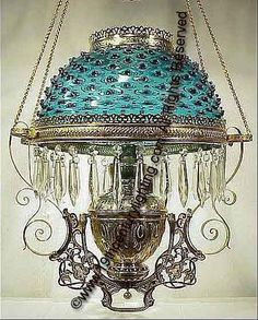 Rochester Hanging Lamp with Blue Hobnail Shade Victorian Kerosene Hanging Lamp