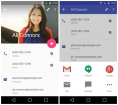 """Contacts is also getting some Material love. We found Android L's new """"complete action"""" popup that vaguely reminds us of the one found on iOS. We're sure it's just a coincidence. Gmail Hangout, Android L, Google Material Design, Mobile Ui, Interactive Design, One Design, Visual Identity, User Interface, Messages"""