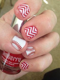 Jamberry Nails - Curve Ball and Cardinal Lacquer with White Chevron. http://annemariecp.jamberry.com/shop