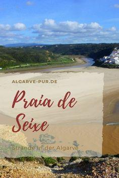 Der Strand Praia de Odeceixe ist eine Landzunge, die komplett mit Sand  bedeckt ist und daher aussieht wie eine große Düne. Sie trennt den Fluss  Ribeira de Seixe, der hier in den Atlantik mündet. Er windet sich in  zwei weiten Bögen am Strand vorbei, wobei er den Strand halb umrundet,  um dann im Norden des Tales ins Meer zu fließen. #algarve