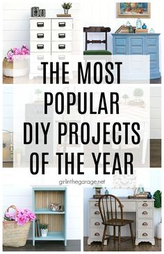 Most Popular DIY Projects of the Year - DIY furniture makeover and decor ideas by Girl in the Garage Mirror Painting, Diy Painting, Cool Diy Projects, Home Projects, Diy Furniture Tutorials, Furniture Ideas, Painted Furniture, Refinished Furniture, Most Popular