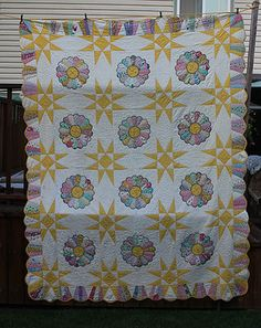 Antique Vintage Sunny Yellow Dresden Plate Star Quilt Cone Border 1930's