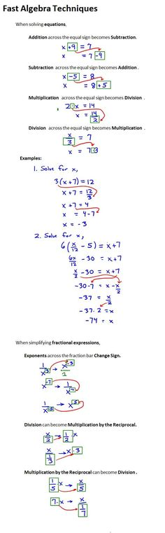 At some point a math student needs to move from learning algebra to doing algebra. Many techniques that students learn are designed to facilitate a person's understanding and remembrance of …
