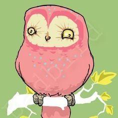 Pink Owl by BadBird on Etsy