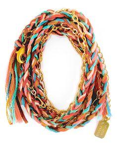 Satin Gold Southwest Braided Wrap Bracelet by JewelMint.com, $59.98