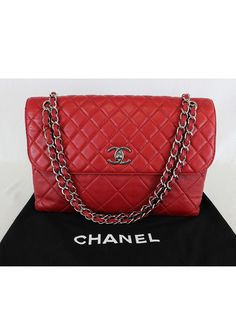 Authentic CHANEL Red Lambskin Leather In the Business Flap Shoulder Bag #CHANEL #ShoulderBag