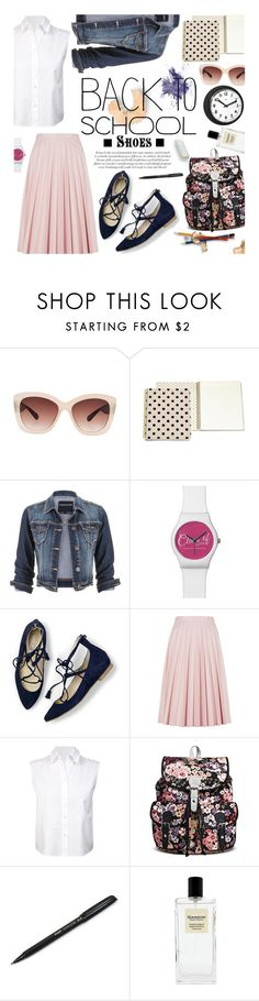 """Back to School: New Shoes"" by hamaly ❤ liked on Polyvore featuring Eloquii, Kate Spade, maurices, M&S, T By Alexander Wang, Universal Lighting and Decor, BackToSchool, shoes, DenimStyle and back2school"