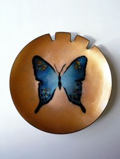 Vintage 1960s Bovano Enamel on Copper Butterfly Ashtray/Dish. $40