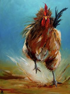 Run Chicken Run Painting  - Run Chicken Run Fine Art Print - Cari Humphry - I like the bold brush strokes and color.