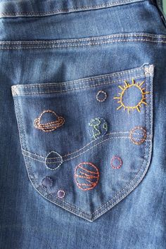 Embroidery diy reuse jeans denim second hand fashion/ cosmic embroidery on denim / jean pocket / diy fashion which fab 162220 Excellent Diy projects are readily available on our site. DIY Women's Fashion Ideas anyone can do Young Women S Dresses Aust Diy Jeans, Reuse Jeans, Jeans Denim, Sewing Jeans, Diy With Jeans, Diy Ripped Jeans, Denim Shirts, Skinny Jeans, Denim Top