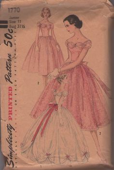 Simplicity 1770 Vintage 50's Sewing Pattern INCREDIBLE Ruched Off the Shoulders Draped FULL Ball Gown Skirt Wedding Gown, Party Dress, Anna & The King!