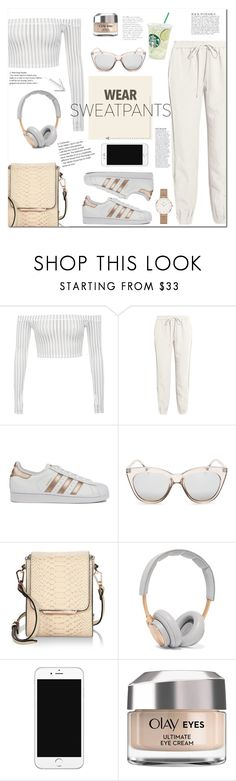 """""""sweatpants"""" by mery90 ❤ liked on Polyvore featuring Diane Von Furstenberg, adidas, Le Specs, Kendall + Kylie, B&O Play, Olay, Anja, Daniel Wellington and sweatpants"""