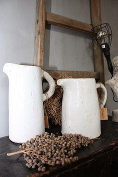 Landelijke woondecoratie met dadeltak en oude ladder