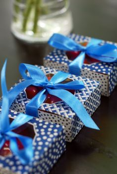 Indigo favor boxes  Summer Party with Patriotic Flair by #thepartydress #LetsCelebrate
